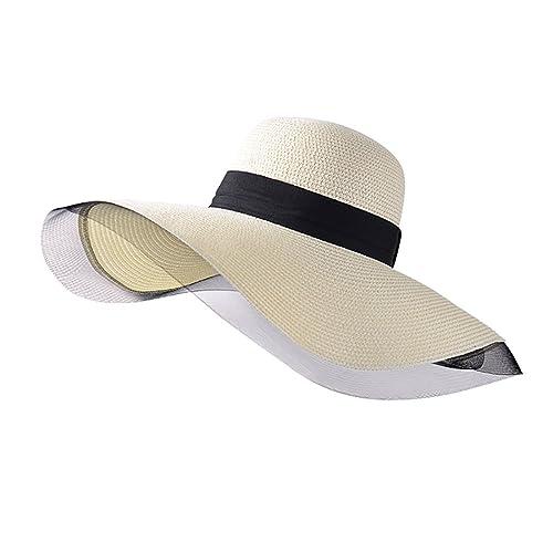 iShine Donne Moda Spiaggia Larga Cappello Cappello da Sole Estivo in Paglia