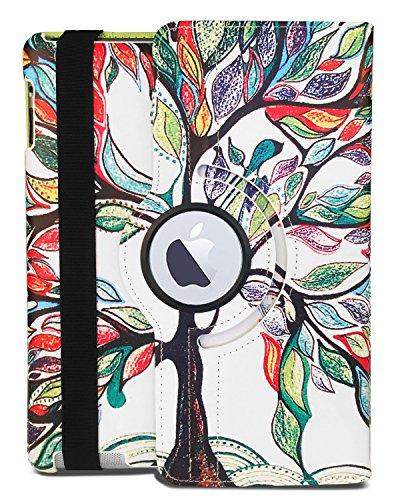 J.west iPad 2/3/4 Case - PU Leather 360 Degree Rotating Stand Smart Case Cover for iPad with Retina Display (iPad 4th Generation), iPad 3 & iPad 2 9.7 (Automatic Wake/Sleep) - Lucky Tree