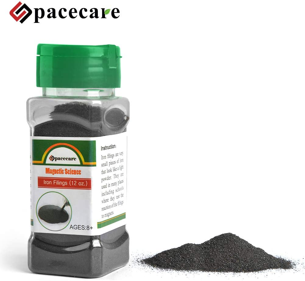 with Shaker Lid Storage Jar 1 Pack SPACECARE Magnetic Iron Powder Filings for Magnet Education and School Projects 12 Ounces