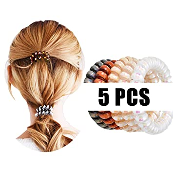 Amazon.com   5PCS Elastic Spiral Hair Ties Power Sparkling Hair Ring Rubber  Coil Hair Bands Telephone Cord Ponytail Holders No Crease for Women Girls  ... 9235ca41bd1