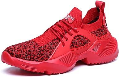 Zapatillas De Hombre Blancas,Zapatillas De Running Para Hombre Sneakers Tenis Deportivas Fitness Súper Ligero Calzado Casual Negro Rojo 39-46EU: Amazon.es: Ropa y accesorios