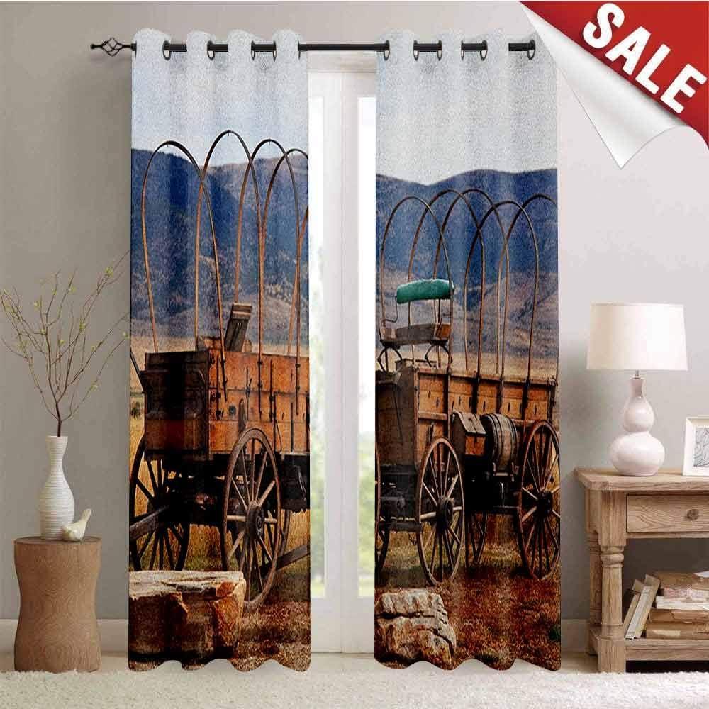 UNOSEKS LANZON - Barra de madera de granero con ojales para cortina de dormitorio, establo de caballo, heno y paneles de madera, impresión de imagen para cortinas de oscurecimiento del hogar, polvo