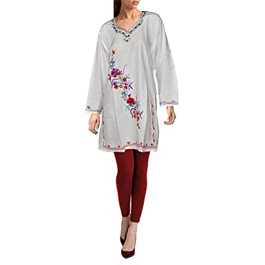 5b2e80efe5 Image Unavailable. Image not available for. Colour: Off White Kashmiri  Embroidered Cotton Kurti