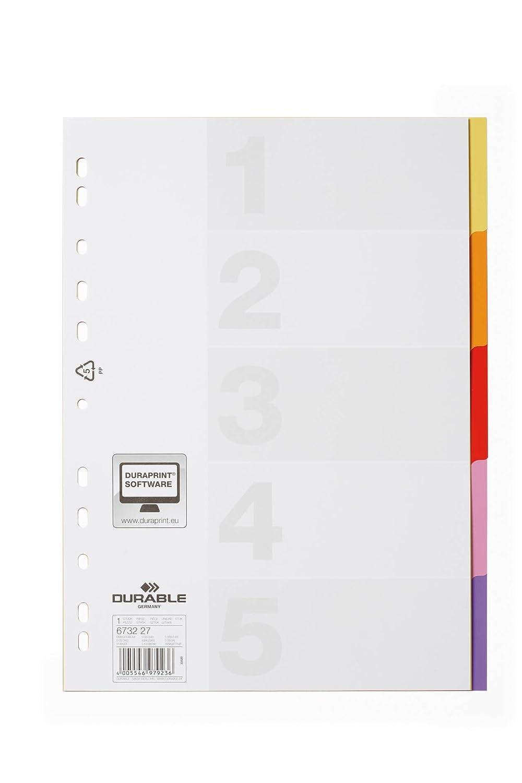 DURABLE 674327 - Divisorio con cavalierini colorati, etichette personalizzabili, 10 tasti, copertina personalizzabile, f.to A4, foratura universale