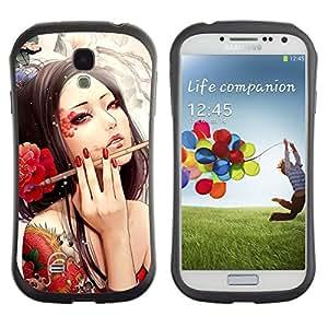 Fuerte Suave TPU GEL Caso Carcasa de Protección Funda para Samsung Galaxy S4 I9500 / Business Style Sexy Woman Tattoo Artist Red Flower Ink Brush