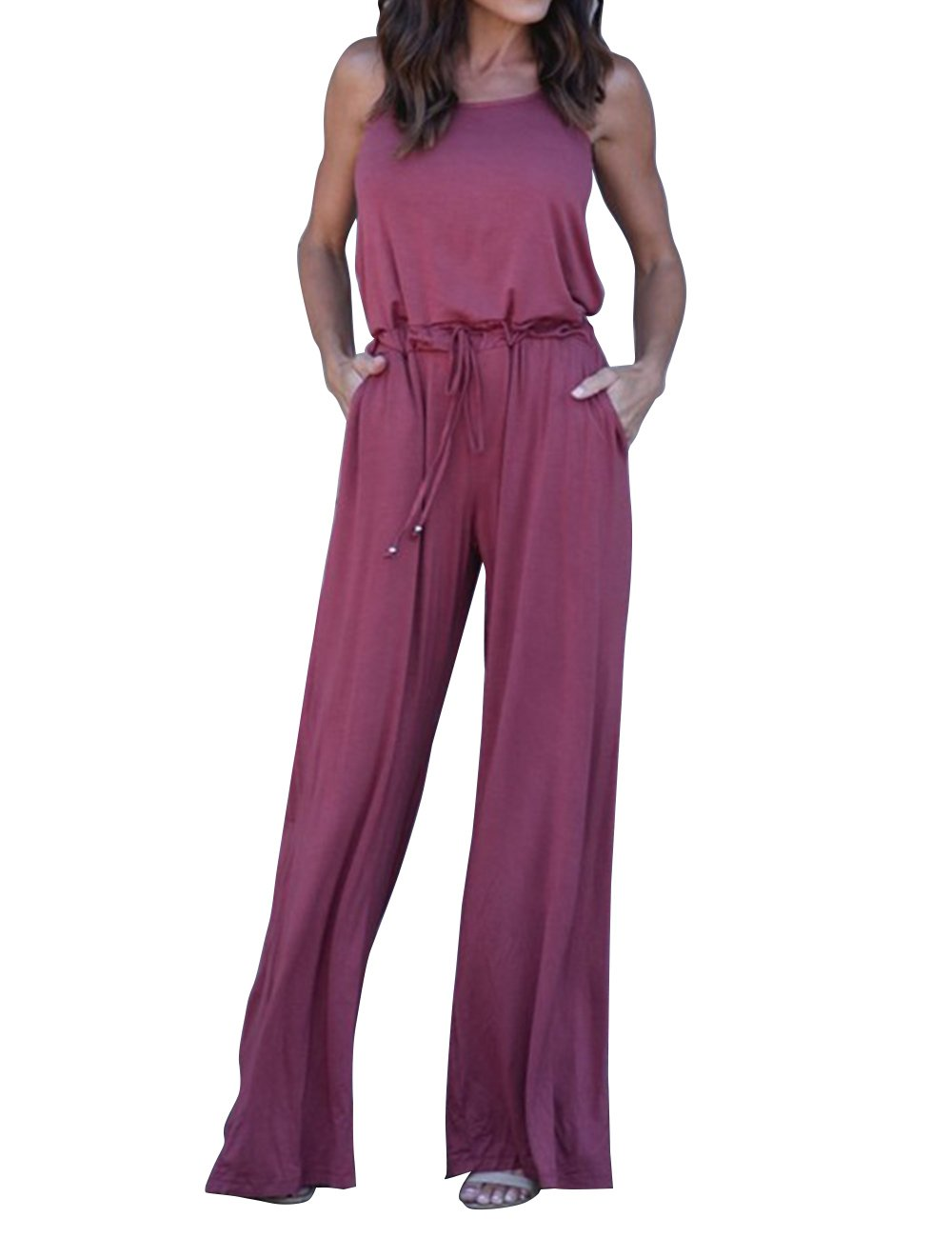 Hunleathy Women's Long Pants Jumpsuit Casual Sleeveless High Waist Romper Purple L