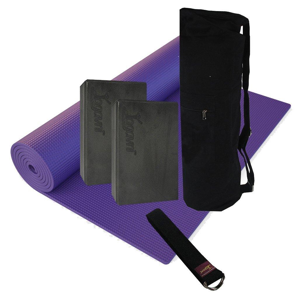 Deluxe Yoga Kit - Yoga Mat, Yoga Mat Bags,Foam Block and Yoga Strap (Purple Mat)
