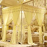 DE&QW European Style Mosquito Net, Encryption Stainless Steel Floor-standing With Flat Roof Bed Canopy-B 180x220cm(71x87inch)
