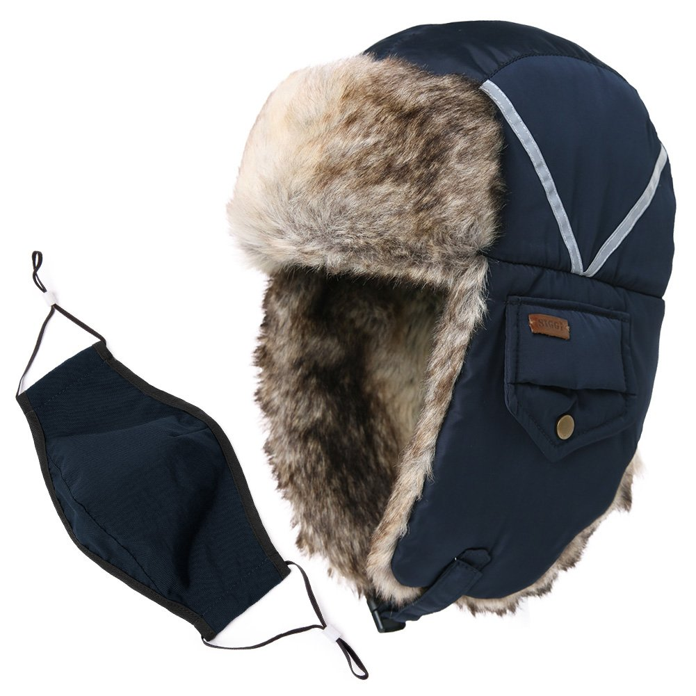 SIGGI Trapper Hat Fake Fur Aviator Hat with Ear Flaps Russian Winter Cold Weather Hat Windproof with Mask Men Women 89135_navy (Faux Fur),One Size