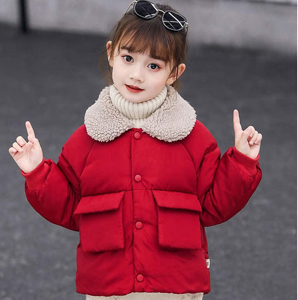 Baby Toddler Girls Boys Winter Fleece Coat Warm Clothes 1-5 Years Old Kids Solid Padded Outwear Jacket