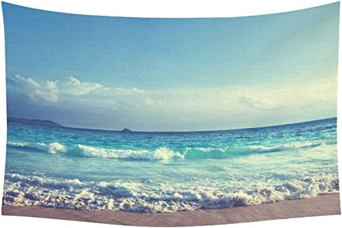 INTERESTPRINT Ocean Wave Decor Collection, Seychelles Beach in Sunset Time, Navy Blue White Tapestry Home Decor Wall Hanging Art Sets 90 X 60 Inches