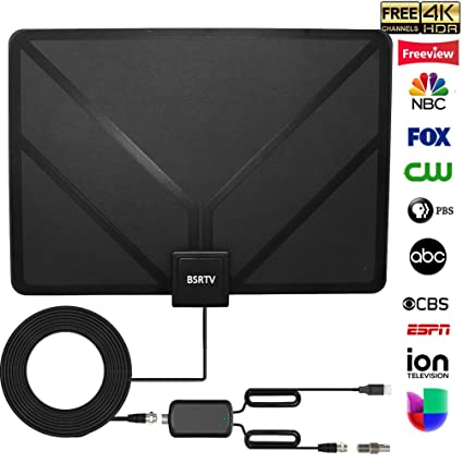 BSRTV 4348254777 HDTV Antenna, HD Digital TV Antenna Amplified 80 Miles  Range High-Definition with HDTV Amplifier 4K Local Channels Broadcast for  All