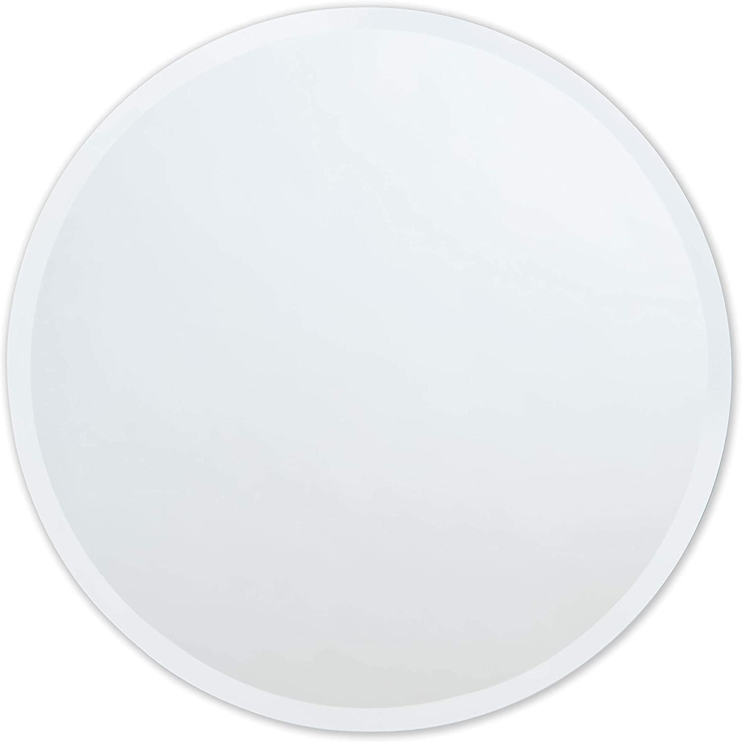 The Better Bevel Round Frameless Wall Mirror Bathroom, Vanity, Bedroom Mirror 36-inch Diameter Circle Beveled Edge