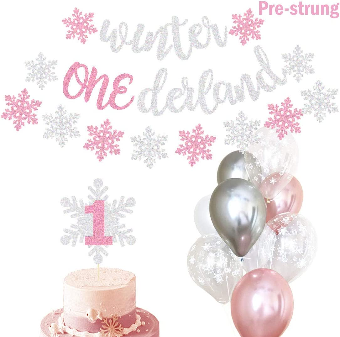 Winter Onederland Party Decorations Banner Snowflake Balloons First  Birthday Party Supplies Decorations Winter 9st Cake Topper Themed Baby Girl  photo