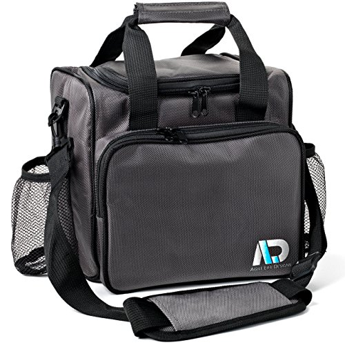 Agile Life Designs Large Lunchbox, Premium Quality Men and Women's Insulated Bag with 2 Mesh Bottle Pockets ()