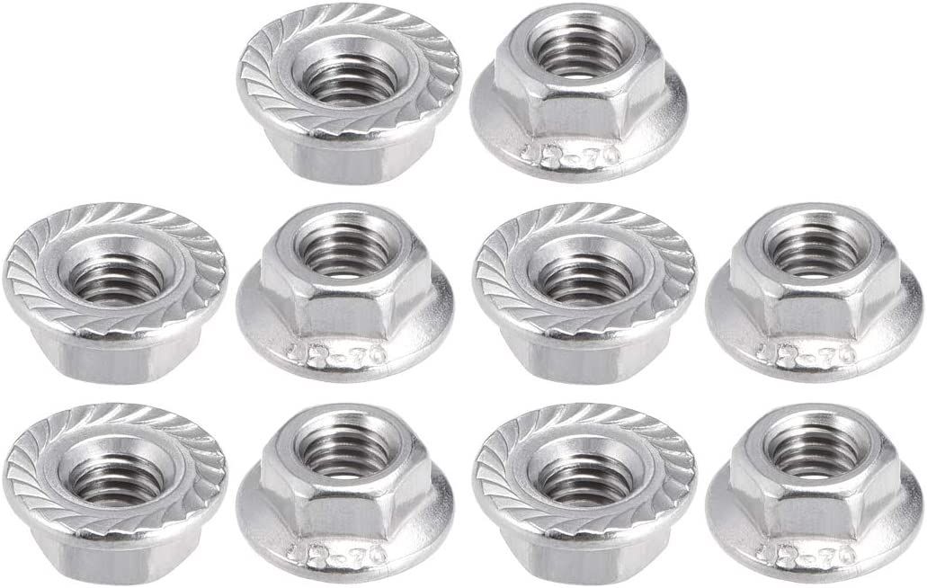 uxcell M5 Serrated Flange Hex Lock Nuts 10 Pcs 304 Stainless Steel