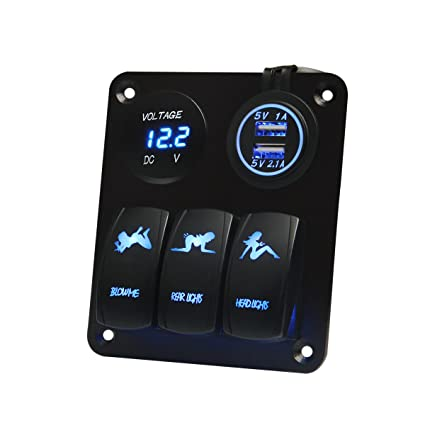 amazon com teqstone marine boat car switch panel 3 gang with 1teqstone marine boat car switch panel 3 gang with 1 charger with 2 usb slot