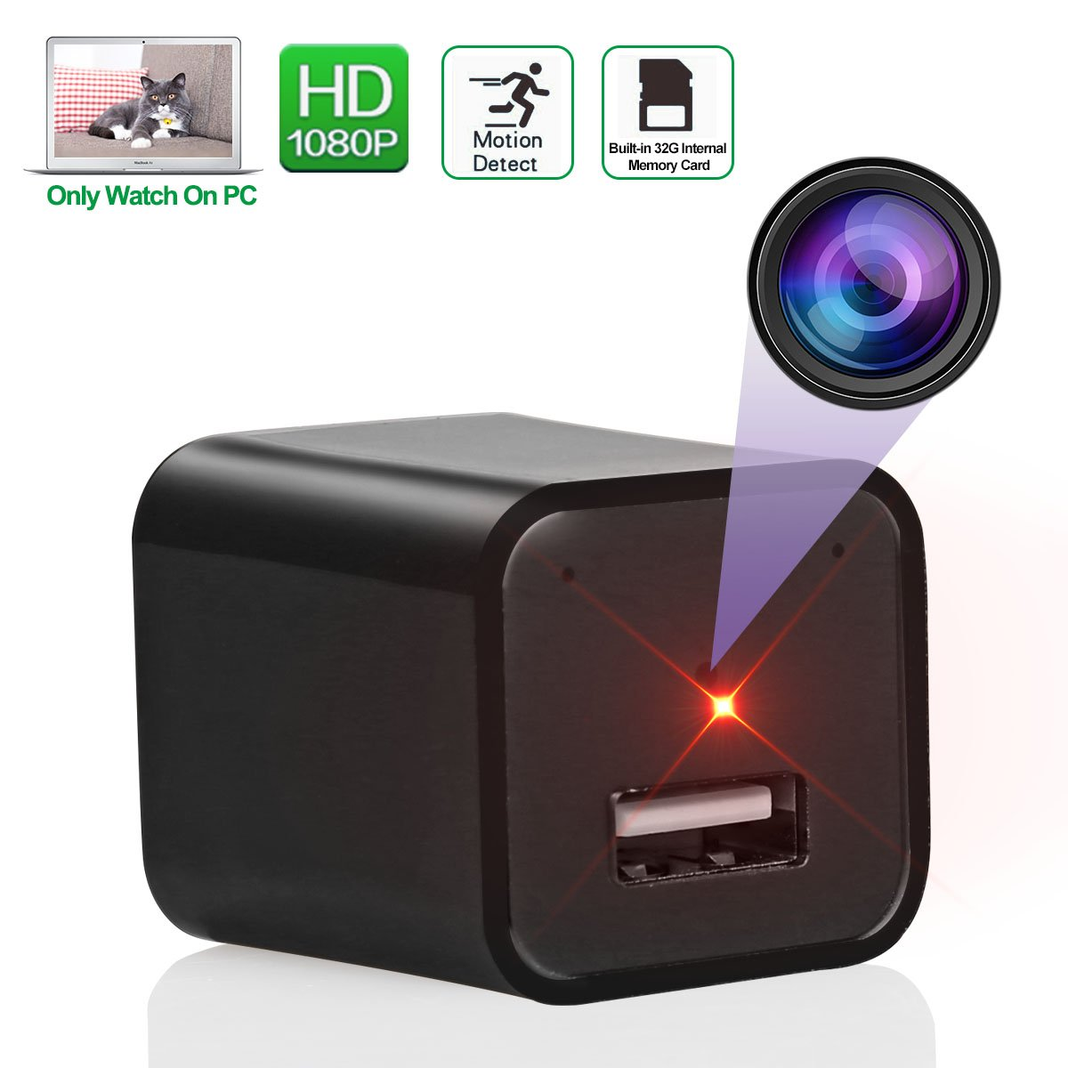 Spy Camera Wireless Hidden, Mini Hidden Spy Camera Adapter HD 1080P Motion Detection with 32GB Internal Memory Card for Home Office Security