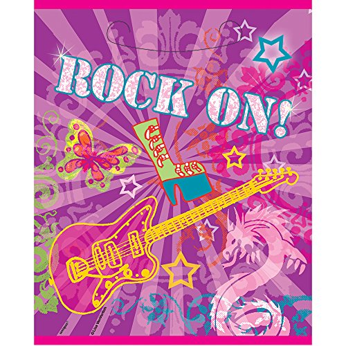 Rock On Girls Party Goodie Bags, 8ct Butterfly Rock Guitar