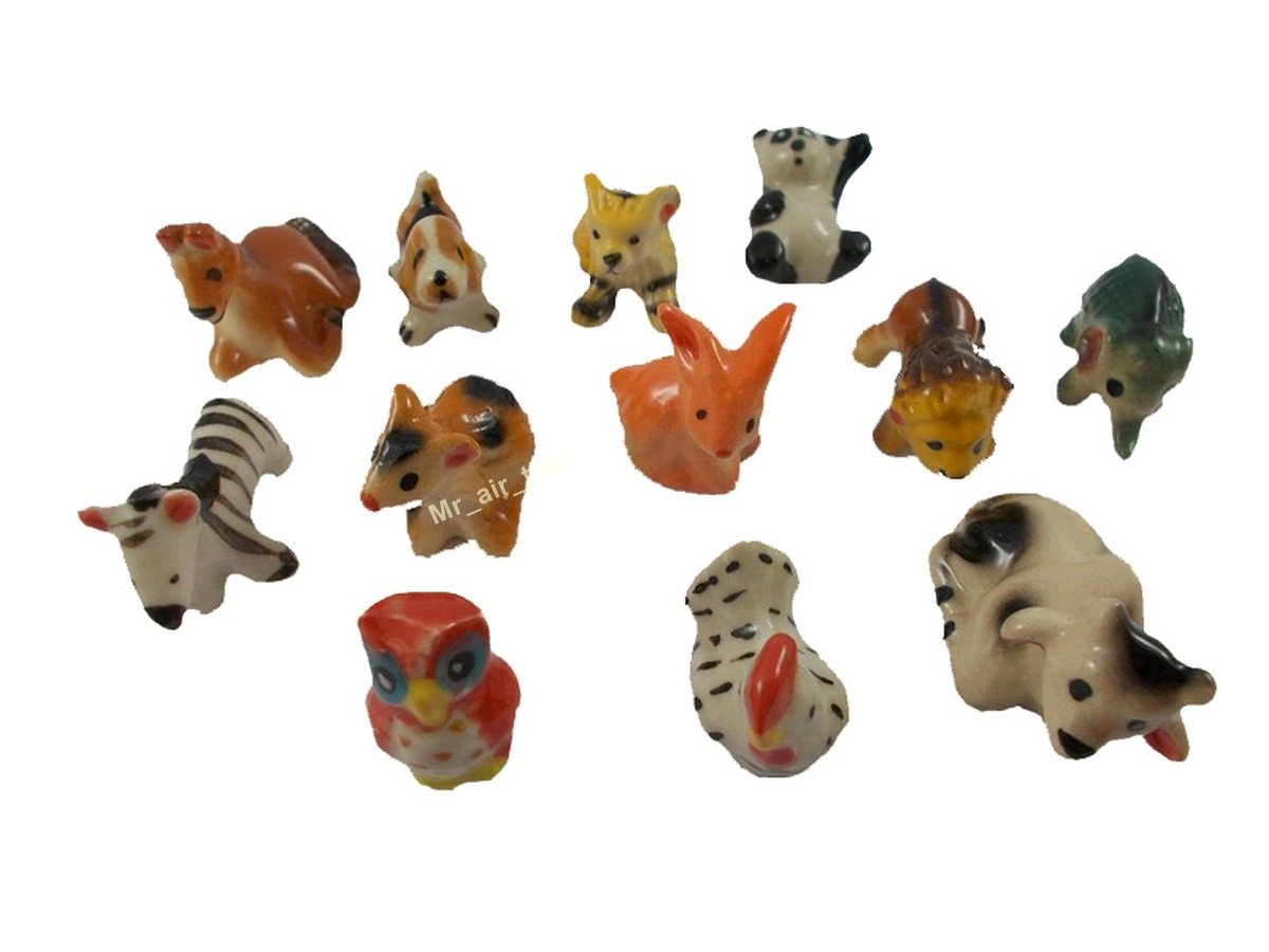 Figurines Collection Elephant Painted Ceramic Miniatures Animals Porcelain 12pc