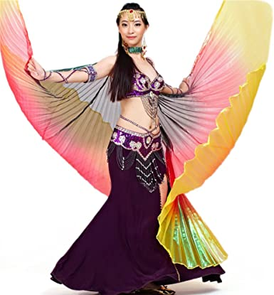 Amazon Com Bellylady Belly Dance Costume Isis Wings Professional Dance Wings With Sticks Black Clothing