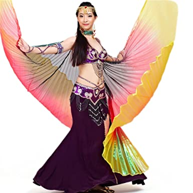 Amazon Bellylady Belly Dance Costume Isis Wings Professional Sticks Black