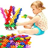 Building Blocks, FIOLOM Interlocking Solid Plastic Plum Blossom Building Toy Sets Interactive Puzzle Educational Learning Stem Building Construction Toys Gifts for Kids Boys Girls and Preschool 90 PCS