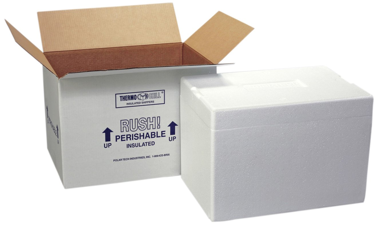"Polar Tech 247C Thermo Chill Insulated Carton with Foam Shipper, Medium, 17"" Length x 10"" Width x 12-3/8"" Depth"