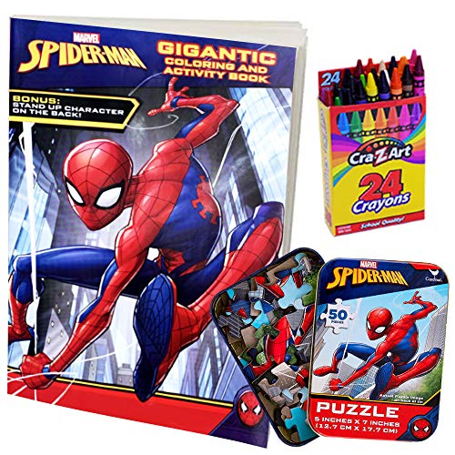 Spiderman 3 New Goblin Mask (ColorBoxCrate Spider-Man Far from Home Coloring Book Toy Set 3 Pack Includes Spiderman Coloring and Activity Book, Spider Man Puzzle, and Crayons for Children Ages 3 to)