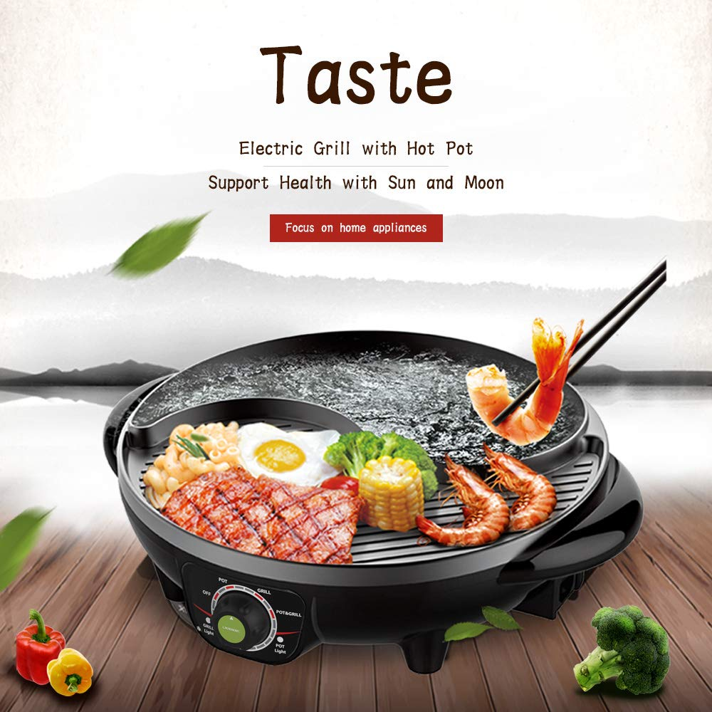 LIVEN Electric Grill with Hot Pot and Non-Stick Coating Surface 1300W 120V SK-J3200