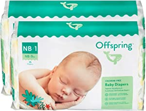 Offspring - New - Disposable Diapers Size Newborn, Size 1 (0-9lbs.) - Eco-Friendly - Premium Ultra Soft - Double Leak Guard Technology - Made with Sustainable Materials - 70 Count