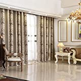 LIYAXUN Modern Simplicity Thickening Two Color Cationic Jacquard Black Silk Shading Cloth Top Grommet Sun Protection Heat Insulation Curtains 100″ W x 102″ L(One Panel),Beige