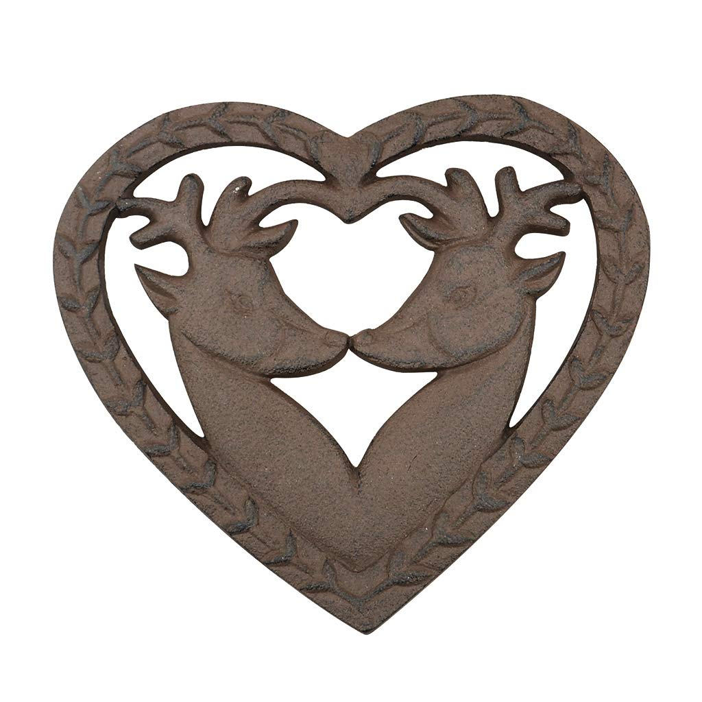 Antique Brown Ornate Heart Shaped Cast Iron Deer kitchen Trivet (Y677) - A Great Way Of Protecting the Dining Table and Kitchen Work Tops, Makes A Wonderful 6th Wedding Anniversary Present. - W 19 x D18.5 cm Dibor