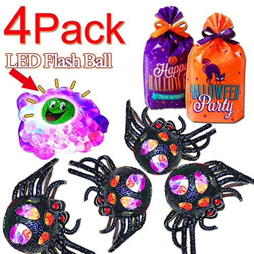4 Pcs Spider Squeeze Grape Ball With Halloween Trick Or Treat Goodie Bag, Stress Relief Toys with LED Light for Kids & Adults, Boys and Girls, School Prizes Relieve Anxiety and Autism Venting Toy ball]()