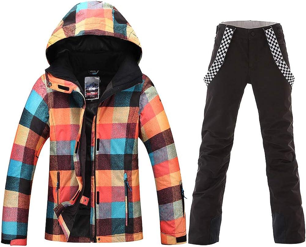 HOTIAN Ski Snowboard Jacket Womens High Windproof Technology Colorful Snow Jacket Pants Set