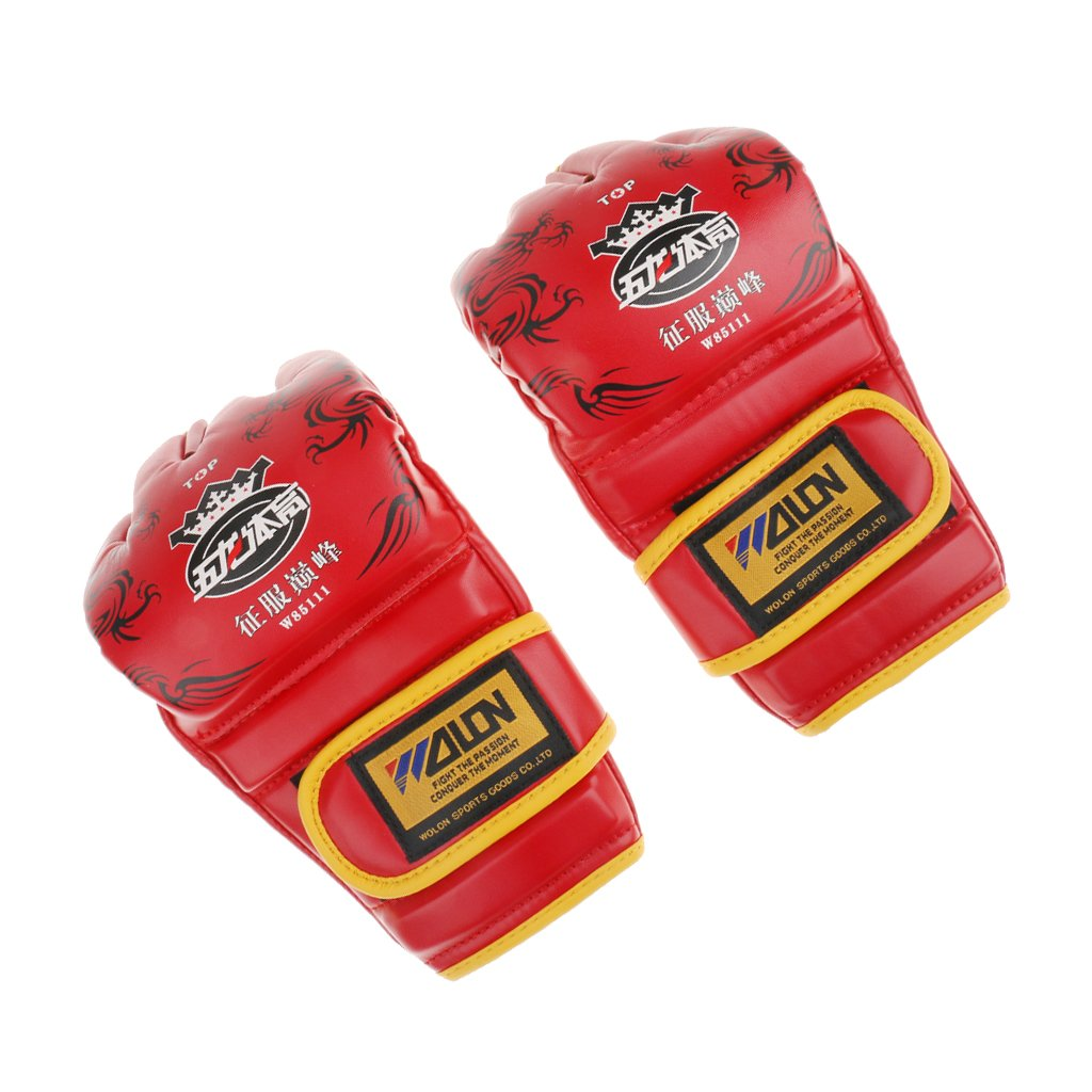 New Half-finger Boxing Gloves UFC MMA Sandbag Training Grappling Punching Martial Arts Training Gloves - Black/ Blue/ Red - Red Generic