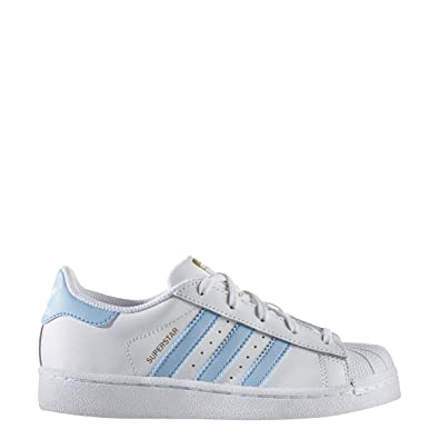 save off ff177 a9f8e adidas Superstar C White Lite Blue Gold (Little Kid) (11 M