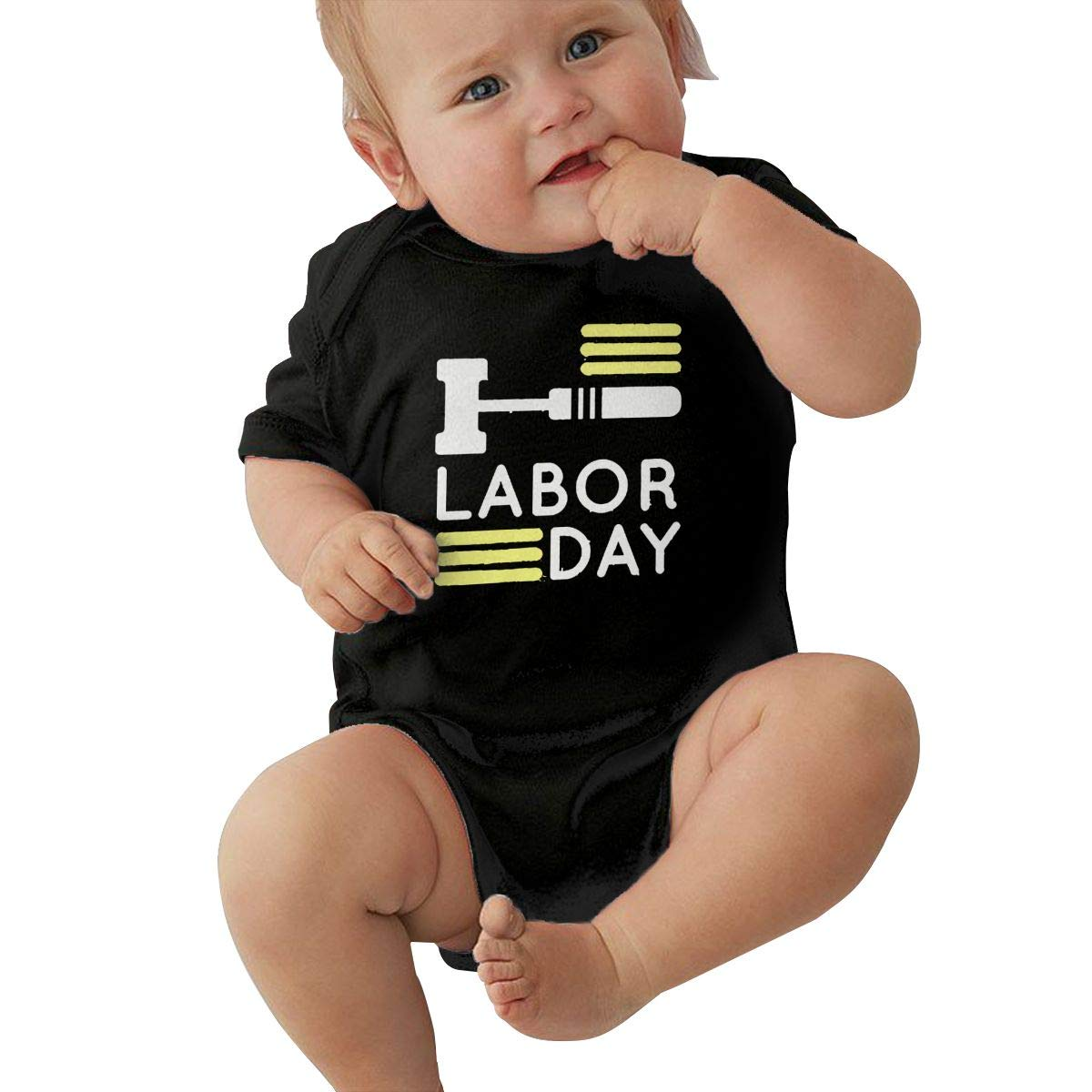 Q98BABY Newborn Baby Boys Girls Short Sleeve Baby Clothes Labor Day Funny Round Neck Baby Clothes