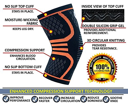UFlex Athletics Knee Compression Sleeve, Single Wrap, Medium