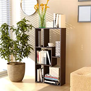 ANGELA 3-Shelf Storage Bookcase, DIY Stitching Furniture, Display Stand, Five-Grid Geometric Design, Modern Simple Style Space, for Home, Office Use