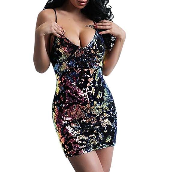 Longra♀2018 Lentejuelas de las mujeres que caen V cuello Bodycon halter Sexy Clubwear mini