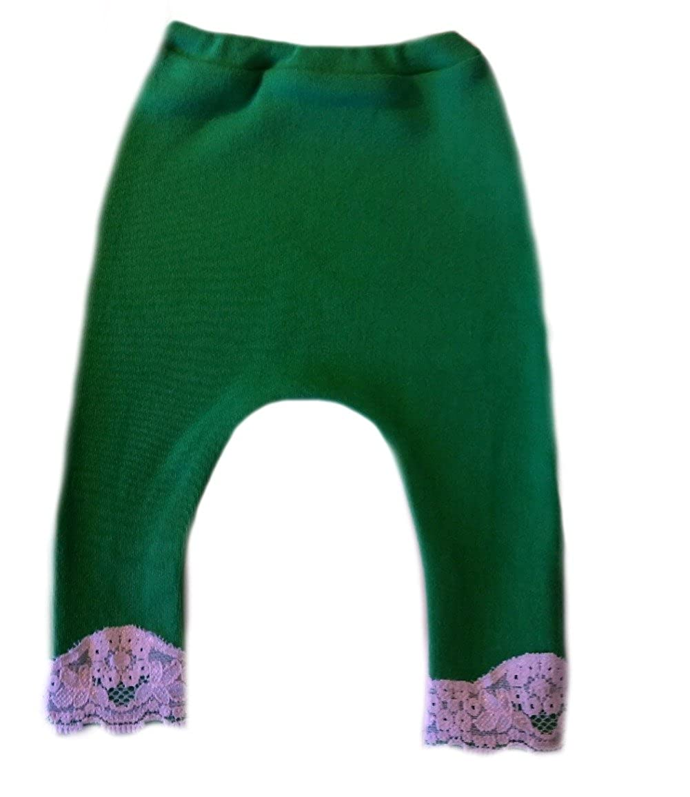 Jacquis Baby Girls Kelly Green Pants with Scalloped Lace