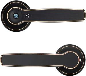 Smart Keyless Door Lock with Biometric Fingerprint,Mechanical Handle Lock Suitable for Home, Hotel ,Apartment,School & Interior Door