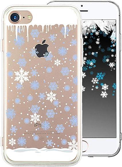 Cestor Coque Étui pour iPhone 6S,Mode Cristal Noël Flocon de Neige Série Motif Arrière Couverture Housse Antichoc Transparent Ultra Mince Doux ...