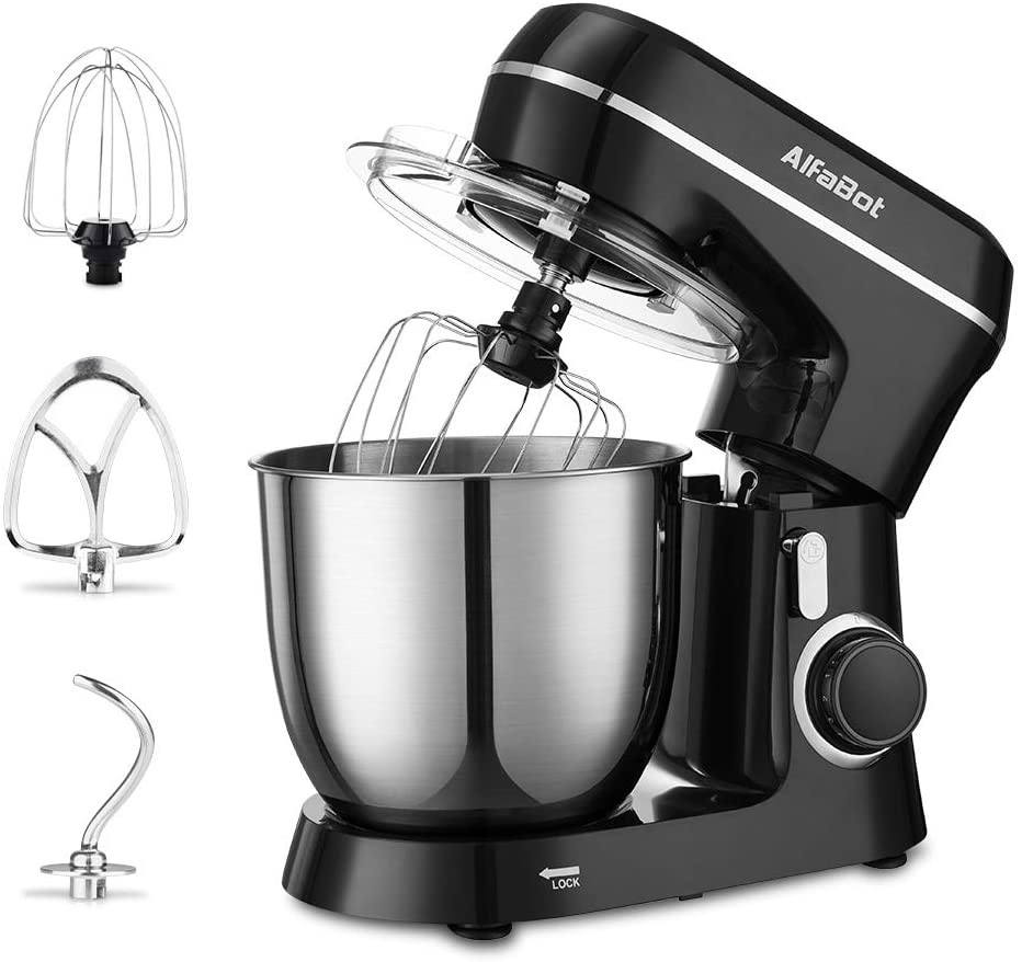 Stand Mixer, AlfaBot SM-1531 4.8Qt Kitchen Mixer with Dough Hook Flat Beater and Whisk, 10 Speed Food Mixer with Stainless Steel Bowl and Splash Guard