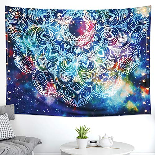 - LOMOHOO Psychedelic Tapestry Blue Floral Starry Night Sky Mandala Wall Hanging Abstract Geometric Art Hippie Flower Galaxy Tapestry Bedroom Living Room Dorm Decor (Abstract, L:148x200cm/58 x79)