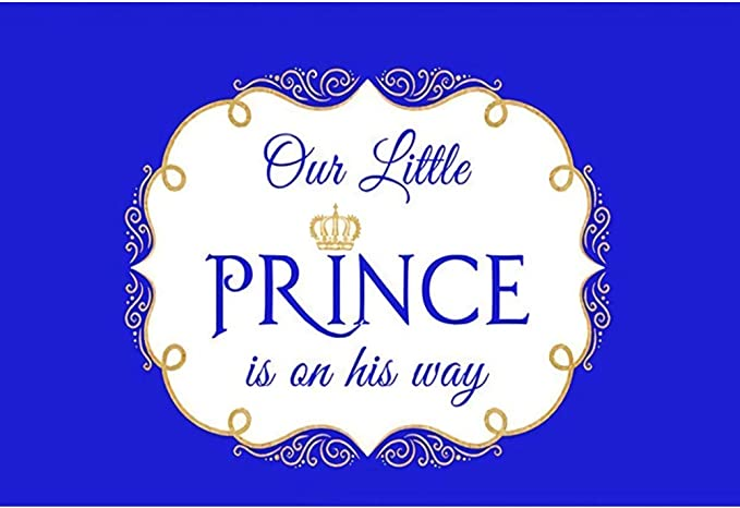 Baocicco 5x3ft Polyester Welcome Our Little Prince Party Backdrops for Photography African America Boy Silver Crown Blue Headboard Photography Background Baby Shower for Boys Photo Studio Vlogger Prop