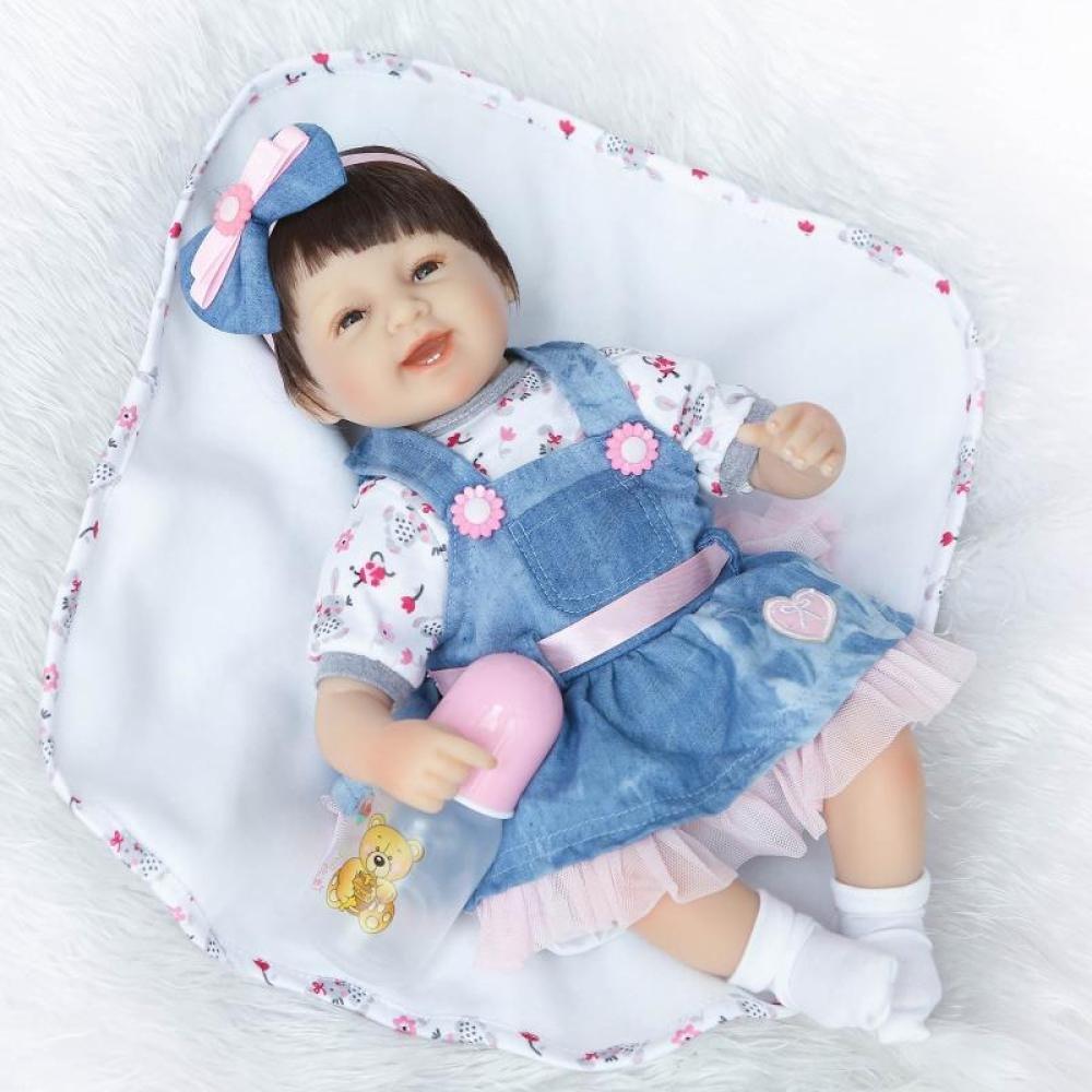 para barato Nurturing Dolls Muñeca Reborn De Bebé De De De 40 Cm Calidad Realista Hechas A Mano Bebé Vinilo Suave como Regalo O Juguete Falda Azul  la mejor selección de