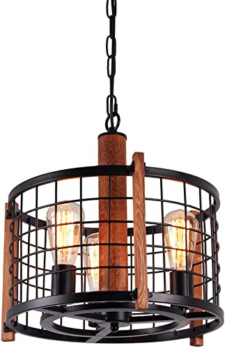 Giluta Rustic Round Chandelier Metal Cage Hanging Pendant Light, Adjustable Industrial Drum Chandelier Antique Farmhouse Ceiling Lighting Fixture 3 Lights C0040
