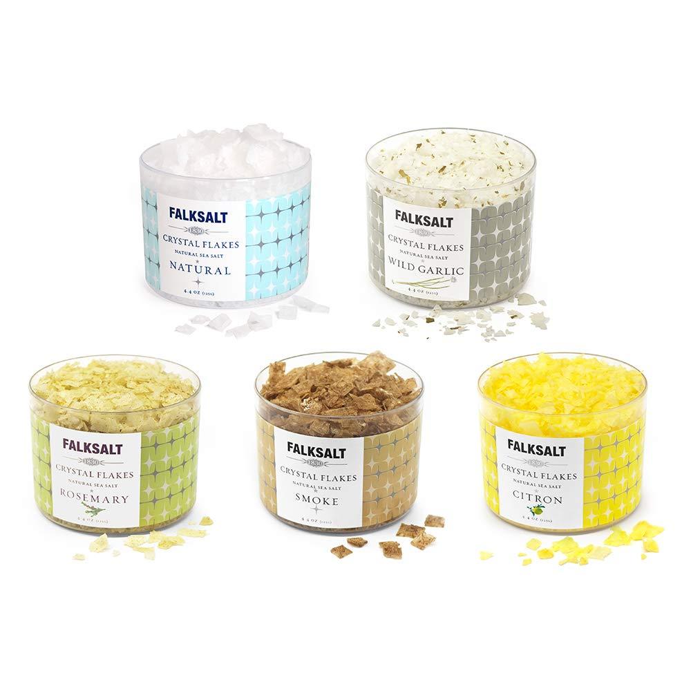 FALKSALT 5-Pack 4.4 oz Sea Salt Flakes (Natural, Smoke, Citron, Wild Garlic, and Rosemary)